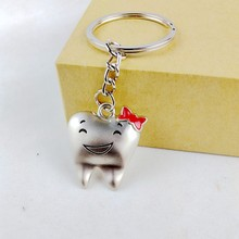 2017 new cute kawaii tooth shape key chain ring anime keychain novelty items creative trinket charm gift  women girls kids PINK