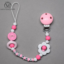 Buy MIYOCAR personalized name pink flower wooden beads dummy clip holder pacifier clips holder/Teethers clip baby for $7.50 in AliExpress store
