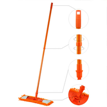 NEW Extendable Microfibre Mop Cleaner Sweeper Wooden Laminate Tile Floor Wet Dry - Orange(China)