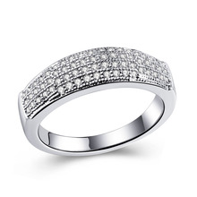 silver plated men wedding band jewelry lady princess cut cheap unique engagement rings Cubic Zircon jewellery drop shipping
