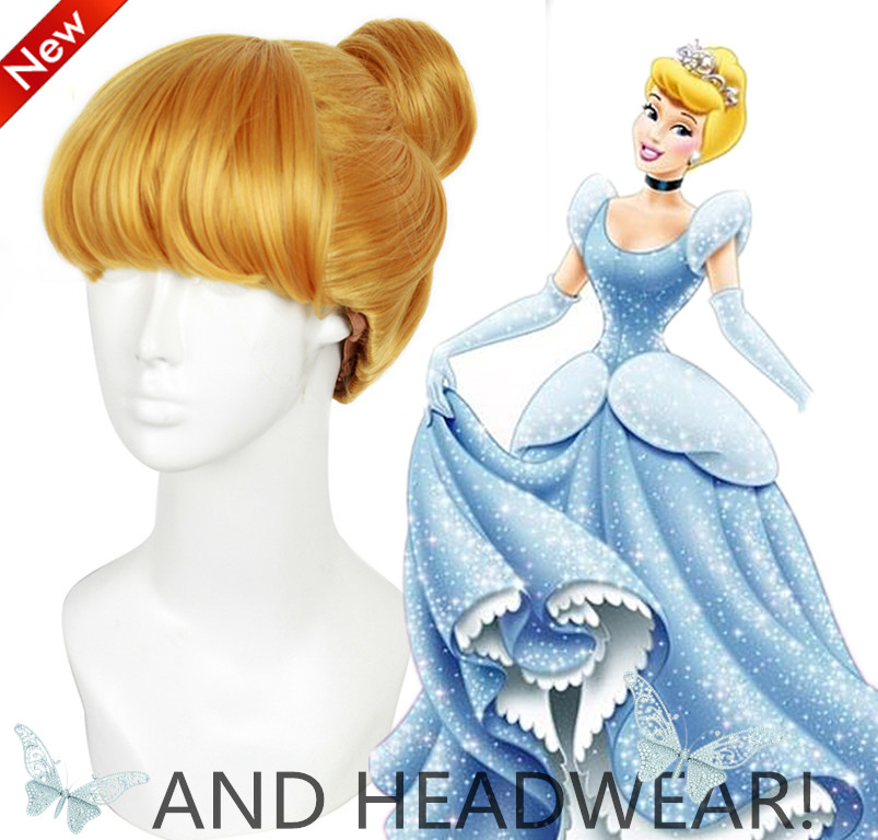 RETAIL!! New Free Shipping Princess Cinderella Wig Cinderella Blonde Style Synthetic Hair Anime Cosplay Wigs with + headwear<br><br>Aliexpress