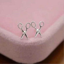 2016 Fancy Original Scissors Matte Silver Plated Tarnish Resistant Stud Earrings, Hair Stylist Lab Tested 925 Silver Jewelry
