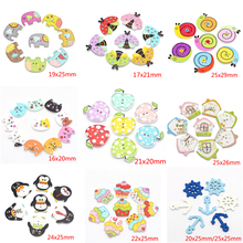 Multi Styles options Painted Cartoon Button Wooden Buttons DIY Clothes Accessories 12pcs/lot 040010045
