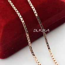 2mm Slim Women Men Rose Gold Color Filled Necklace Link Box Chains 18inch Jewelry(China)