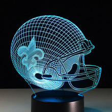 3D Stereo Visual Sport Cap Helmet New Orleans Saints Team Logo Night Multicolored Table Light Creative Gadget Lamp Football Fans