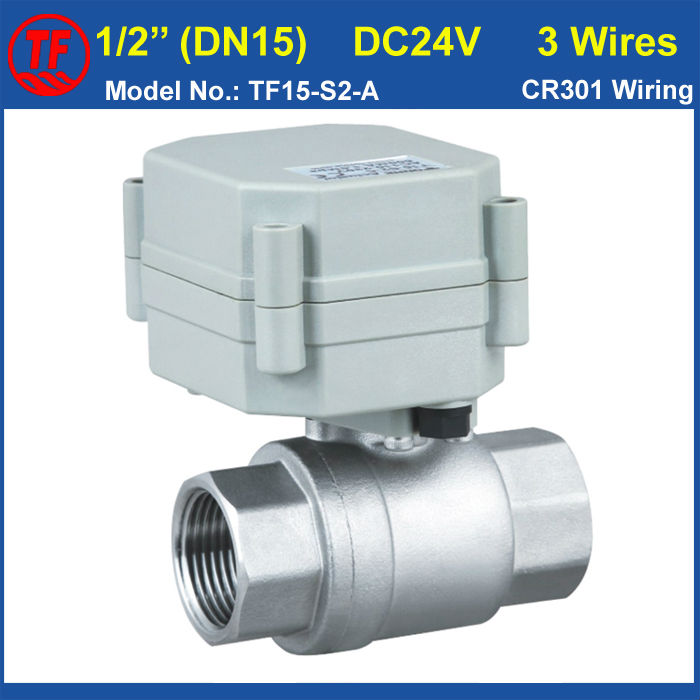 DN15 DC24V 3 wires  control water electirc valve 1/2 SS304 valve work pressure 1.0Mpa on/off 5sec for clean water<br>