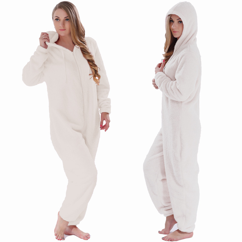 Winter Warm Pajamas, Women's Sleepwear Fleece Pajamas Set, Lounge Hooded Pajamas 7