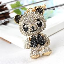 Panda Shirt Black Arm Head Move KeyringPendant Charm Crystal Bag Purse Car Key Chain Women Jewelry Lovely Gift New Arrive(China)