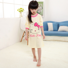 Children Long Sleeve Knitted Cotton KT cat nightgown Girl Pajamas Dress Kid Sleepwear Pyjama Girl's Casual Nightdresses