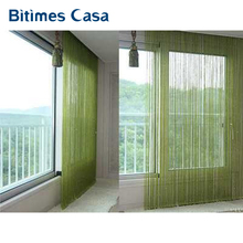 solid color decorative string curtain 300*300CM black white beige classic line curtain window blind vanlance room divider(China)