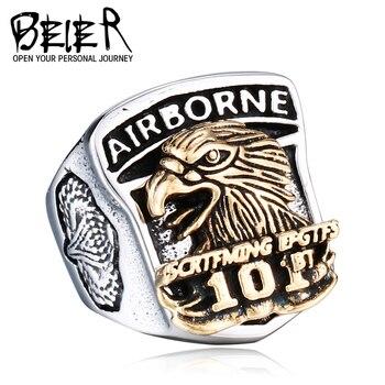 BEIER 2017 Nouveau Design USA Airborne Aigle 101 Armée Anneau En Acier Inoxydable et de Cuivre Homme Unique Des États Armée anneau