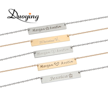 DUOYING Necklace for Women 40*7mm Gold Color Stainless Steel Bar Custom Engraved Name Personalize Initial Necklace Ebay Supplier