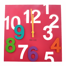 MD1105 Creative 3D Colorful Arabic Numbers Square Shaped Quartz Wall Clock Art Clock
