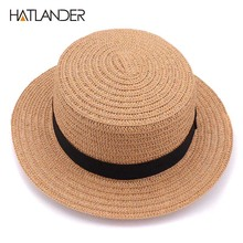 Hatlander 2017 Ladies Round bow Flat Sun Hat femme chapeau Women's Summer beach Hats For Women fedora panama paper straw hats(China)