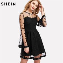 SHEIN Party Women Dress Satin Trim Star Contrast Mesh Overlay 2 In 1 Dress Black Long Sleeve Fit and Flare A Line Dress(China)