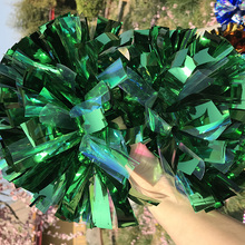 "Don't Fade 1 Pair Cheerleader Pom pom Metallic Green 1,000*3/4"" * 6""  Shinny Cosplay Pom"