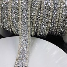 Free ship,wedding crystal rhinestone banding trimming,2yards/lot,fancy bridal dress decorative trim,wedding cake chain decorativ