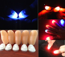 2pcs(1pair) Amazing Funny LED Light Flashing Finger Magic Trick Props Kids Fantastic Glow Luminous Toys