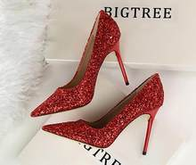 YX GIRL Women Pumps Bling High Heels Women Pumps Glitter High Heels Women  Sexy Wedding Shoes d39300bebc47