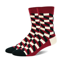 Fashion Colorful Socks Men Hit Color Stripe Lattice Jacquard Cotton Winter Thicken Sox Casual Men's Dress Sock 3 Pairs/lots(China)