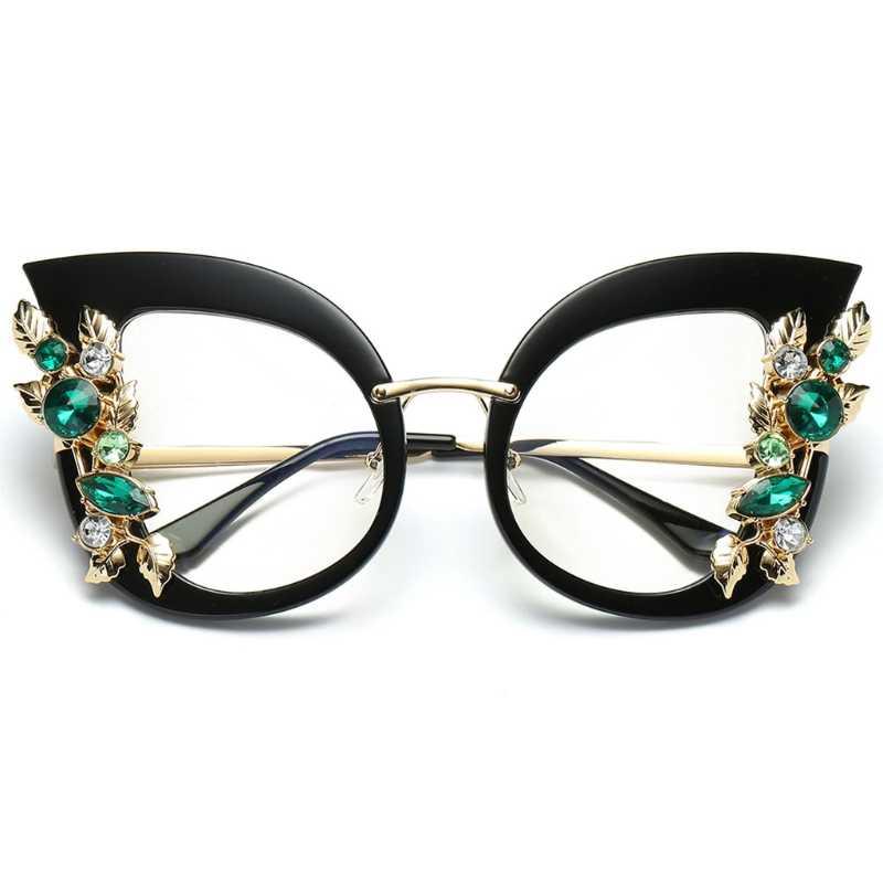Женские солнцезащитные очки кошачий глаз модные стразы тени роскошные градиентные брендовые дизайнерские