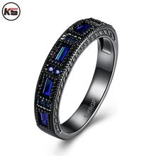 New Arrival Fine Jewelry Elegant Rings Anels For Women With Top Quality Purple Blue Square Row CZ Top Quality US Size 6 7 8(China)