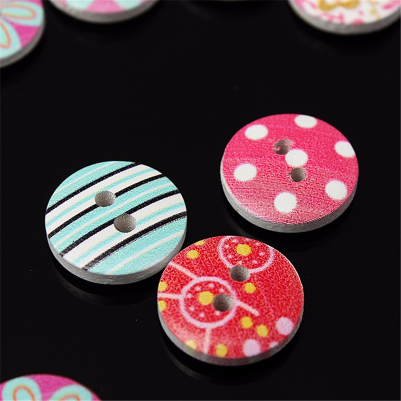 DIY 80pcs/lot Circular Button Random Mix Wooden Painting Buttons Craft Scrapbook Sewing Accessories Cardmaking Home Decor Tools