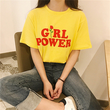 Summer Girl Power Rose T Shirt Letter White Yellow Grey Black Cotton Ladies T-Shirt flowers Tops(China)