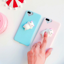 POMER 3D Cartoon Squishy Pinch Poke Silicone Cat Stress Relievers Soft Case Cover Protective shell For iPhone 6s/6 6/6s 7 7plus(China)