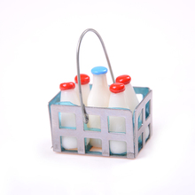 Cute 1Set 1/12 Scale White Milk Basket and Milk Bottle Doll house Food Furniture Toys Miniature Dollhouse Toy Kids Toys