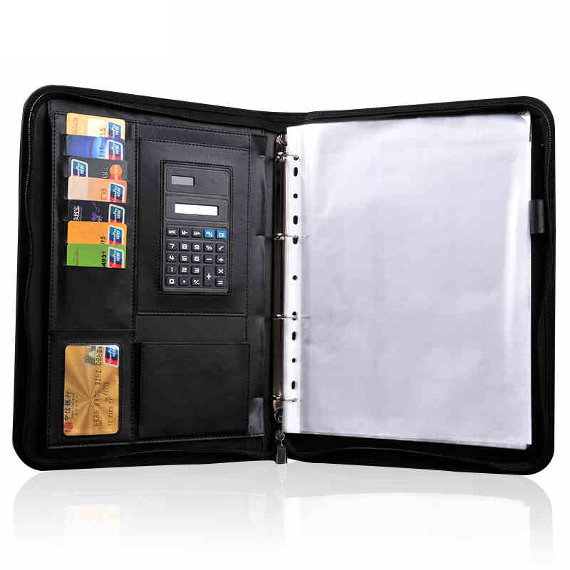 RuiZe Leather Folder Organizer For Document Business Multifunction Manager folder Padfolio A4 File Folder With Calculator<br>