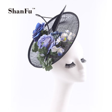 ShanFu Sinamay Flowers Fascinator Hats Black Women Feather Wedding Hair Accessories with Headband SFC12566