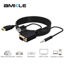 Buy Amkle VGA TO HDMI Adapter Converter Cable 1080P Male VGA HDMI Converter Audio Black PC Laptop TV Computer Projector for $9.99 in AliExpress store