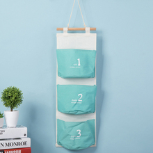 3 Pocket Candy-colored Hanging Pocket Japanese-style 123 Wall Hanging Storage Bag Multi-layer Storage Bags Linen Home Decoration
