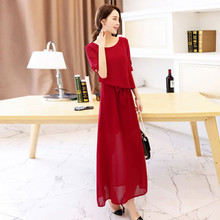 Summer Dress 2017 Women Party Solid Red Chiffon Elegant Maxi Dresses Sexy Dresses Top Quality Plus Size Long Dresses