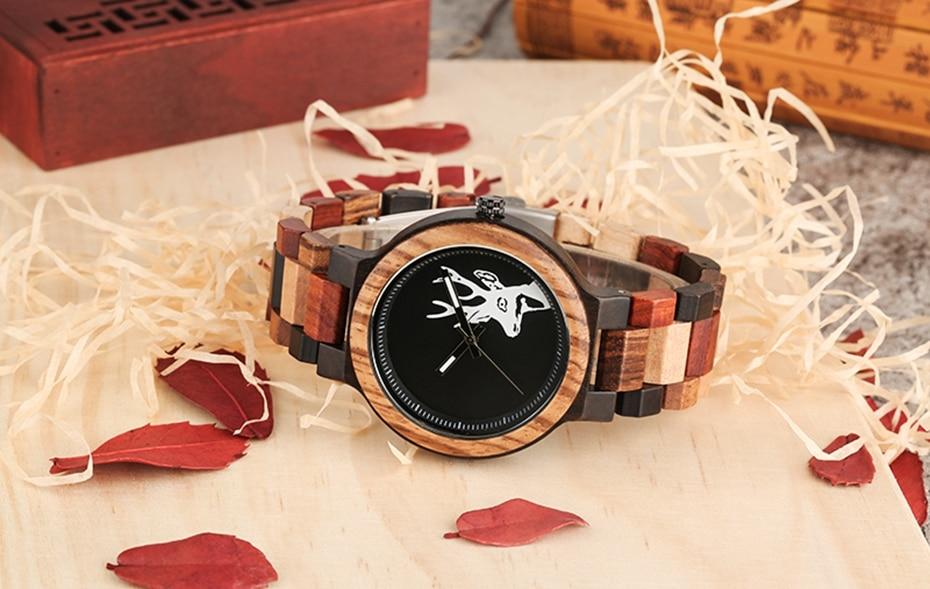 Unique Mixed Color Wood Watch Men Creative Deer Head Elk Clock Man Retro Full Wooden Wrist Quartz Watch Top Luxury Men\`s Watches 2018 2019 (13)