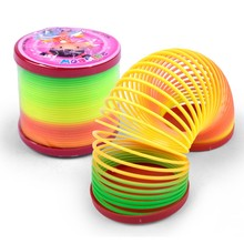 Kids Lovely Toys Funny Colorful Rainbow Plastic Magic Slinky Children Classic Development Toy Practical JokesToys(China)