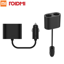 Original Xiaomi Roidmi 1 to 2 Car Cigarette Lighter Charger Adapter Compatible for iPhone iPad Samsung Xiaomi Android phone