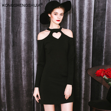 sexy halter cut out heart full sleeve black mini ladies modern dress 6313(China)