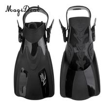 MagiDeal Swim Fins for Adult Adjustable Swimming Frog Shoes Rubber Professional Dive Team Open Diving Snorkeling Flippers Black(China)