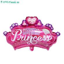Beautiful diamond princess crown balloons princess foil baby shower happy birthday party supplies kid's toys balloons(China)