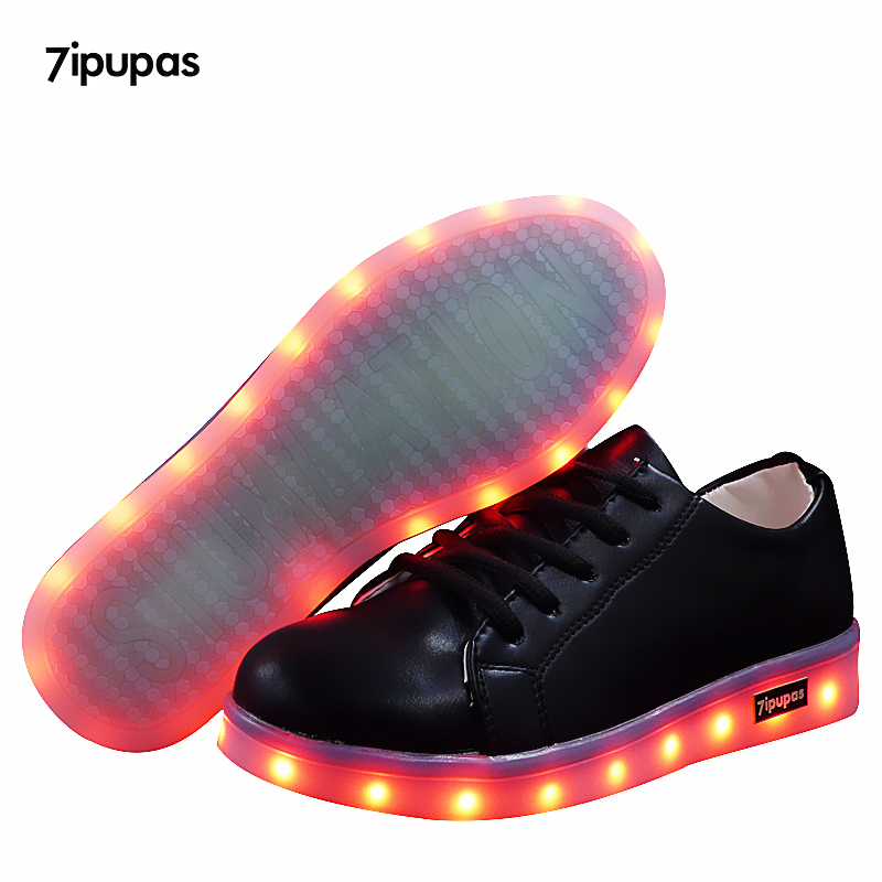 Led luminous sneakers girls boys casual children shoe Black glowing with recharge lights up simulation sole for kids neon basket