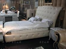 designer modern real genuine leather bed / soft bed/double bed king/queen size bedroom home furniture with crystal buttons