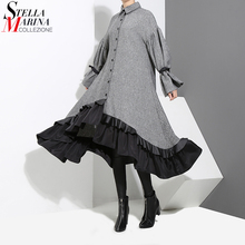 2017 Winter Women Plus Size Gray Shirt Dress Long Sleeve Patchwork Bottom With Sloping Ruffle Cute Wear Party Dress Vestido 3073(China)
