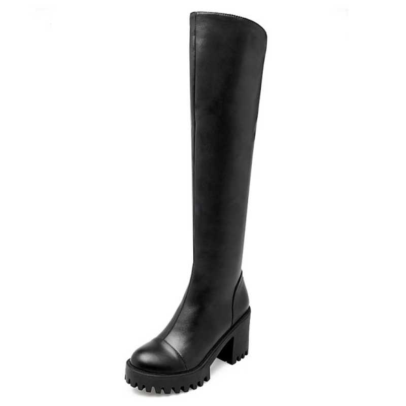 DoraTasia Size 34-43 Women Thigh High Boots High Square Heel Zipper Shoes With Warm Fur Autumn Winter Overknee Boot For Ladies<br><br>Aliexpress