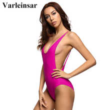 2017 new Sexy hot pink rose low cut back backless one piece swimsuit female Swimwear Women bathing suit swim wear Monokini V111P