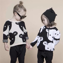 2017 Baby Girl Clothes Cute Cartoon Cotton Knitting Woolen Children Black White Bear Sweater Boys Cardigan Kids Coat 1-5Y POP IG(China)