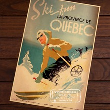Ski in Quebec of Canada Map Classic Vintage Retro Kraft Decorative Poster Maps Travel Posters Wall Sticker Decor Gift