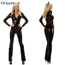 New Arrival Women Black Leather Catsuit Sexy Catwomen Costume Uniforms Cat Suits Adult Performance Jumpsuits With Chain Ribbon