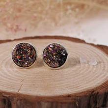 Doreen Box Copper Druzy/ Drusy Ear Post Stud Earrings Round AB Color W/ Stoppers 16mm x 14mm,1 Pair 2017 new
